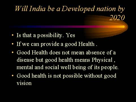 developed india in 2020